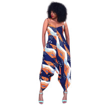Casual Printed Spaghetti Strap Loose Jumpsuit MTY-6178-1