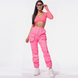 Sexy Mesh Spliced Crop Top And Pocket Pants Sets BN-9185