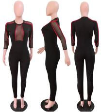Black Mesh Patchwork Skinny Jumpsuit YD-8016