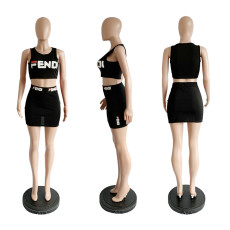 Letter Print Sleeveless Crop Top And Mini Skirt 2 Piece Set YIM-8008
