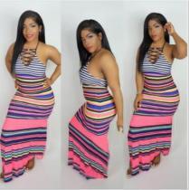 Colorful Striped Halter Long Maxi Dresses IV-8011
