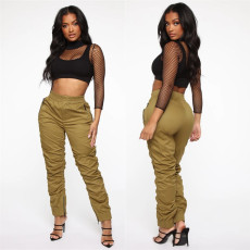 Solid Zipper Fold Casual Slim Fit Long Cargo Pants LSL-6291