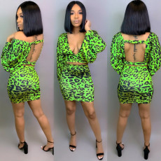 Leopard Print Deep V Backless Long Sleeve Mini Skirt Set TEN-3356
