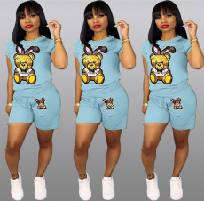 Cartoon Print Short Sleeve Shorts 2 Piece Set QY-5090-1