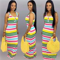Colored Striped Sleeveless Slim Long Maxi Dresses KSN-5005