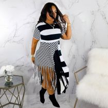 Casual Stripes Tassel Short Sleeve Midi Dresses MDF-5080