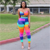 Rainbow Print Sexy Crop Top And Long Pants Suit AWN-5035