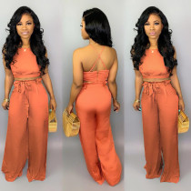Sexy Crop Tops And Wide Leg Pants Two Piece Set BS-1079