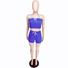 Blue Side Stripe Tube Tops And Shorts 2 Piece Set YMT-6094