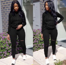 Hot Sale Hole Hooded Tracksuit 2 Piece Sets FNN-8140
