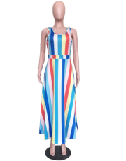 Colorful Vertical Stripe Sleeveless Long Dress ORY-5033