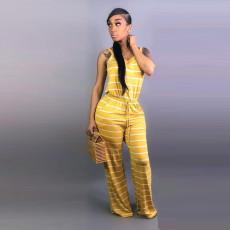 Striped Sleeveless Wide Leg Jumpsuit YN-9056