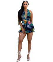 Backless Printed Playsuit YIS-803