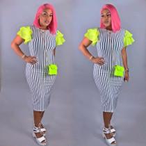 Fashion Stripes Ruffles Sleeve Splice Midi Dress QY-5127