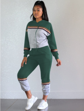 Green Patchwork Hooded Tracksuit 2 Piece Set OY-5277