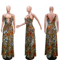 Leopard Print Deep V Spaghetti Strap High Split Maxi Dress MEM-1623