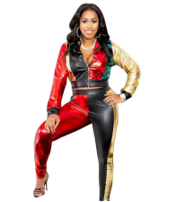 Contrast Color PU Leather Tracksuit Two Piece Set MEM-8172