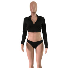 Black Long Sleeve Sexy Bikini Set FNN-8200