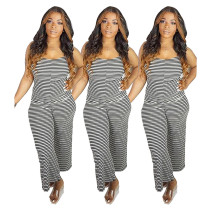 Sexy Striped Spaghetti Strap One Piece Jumpsuits IV-8003