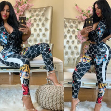Animal Print Ziiper Short Sleeve Crop Top Pants 2 Piece Suits FNN-8265