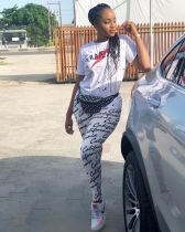 Letter Print T Shirt Top And Long Pants 2 Piece Set CH-8015