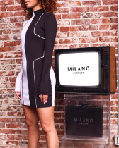 Black White Splice Long Sleeve O Neck Mini Dresses MEI-9037