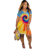 Colorful Tie Dye Print V Neck Short Sleeve Mini Dress FNN-8284