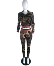 Camouflage Side Plaid Printed 2 Piece Set YM-9050