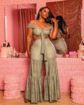 Snake Skin Print Off Shoulder Crop Top Wide Leg Pants Set LSL-6289