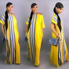 Striped Off Shoulder Loose Maxi Dresses WZ-8162