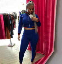 Blue Casual Striped Tracksuit Two Piece Set OY-5270