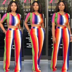 Colorful Striped Short Sleeve Two Piece Pant Set ORY-5120