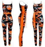 Camouflage Spaghetti Strap Skinny Jumpsuit OJS-9018