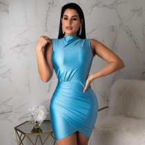 Solid Sleeveless Ruching Bodycon Dresses BS-1026