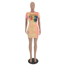 Lips Print Short Sleeve Slim Mini Dresses MEI-9026