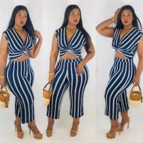 Striped V Neck Tops And Pants Two Piece Sets HM-6114