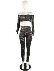 Camouflage Print Slash Neck Crop Tops Pant Set MK-1026