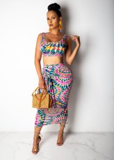 Sexy Printed Crop Tops Long Skirt Two Piece Sets WY-6578