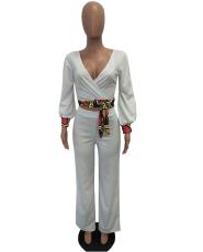 White Crop Top And Wide Leg Pant Set TEN-3272