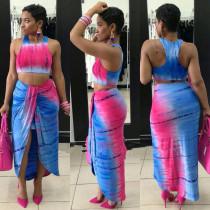 Printed Tank Top Ruching Long Skirt Two Piece Set MDF-5070