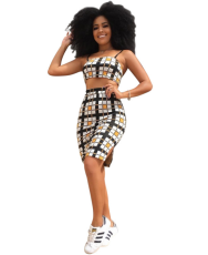 Grid Two Piece Dress YIS-806