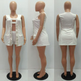 White Sequin Splice Sleeveless Long Top And Shorts Suit MAE-209