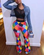 Plus Size Colorful Plaid Print Long Pants WSM-5046