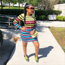 Colorful Stripes Long Sleeve O Neck Mini Dresses WSM-5014