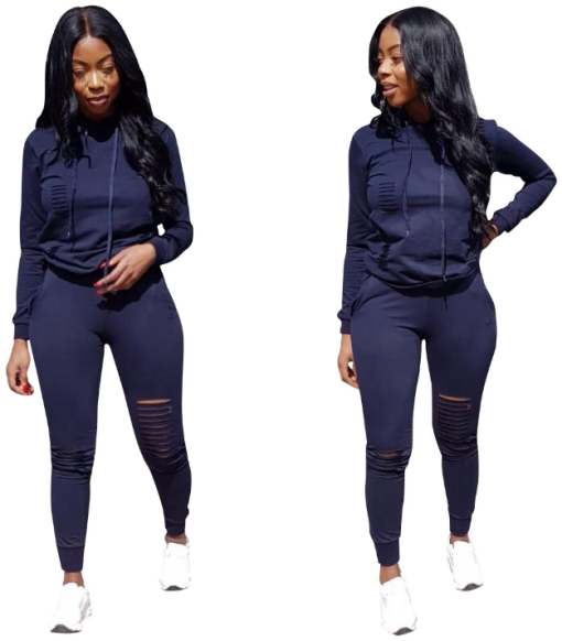 Black Hole Hooded Tracksuit 2 Piece Sets FNN-8140