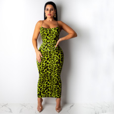 Sexy Leopard Print Spaghetti Strap Slim Long Maxi Dress TE-3812