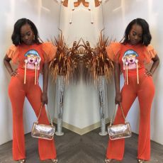 Orange Mesh Patchwork Petal Sleeve Flare Pants Suit PIN-8400