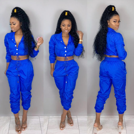 Solid Drawstring Tracksuit 2 Piece Set LSL-6235