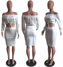 Sexy Off Shoulder Crop Tops And Skirt 2 piece Set OM-1026