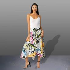 Letter Newspaper Print High Waist Irregular Midi Skirt OJS-9120